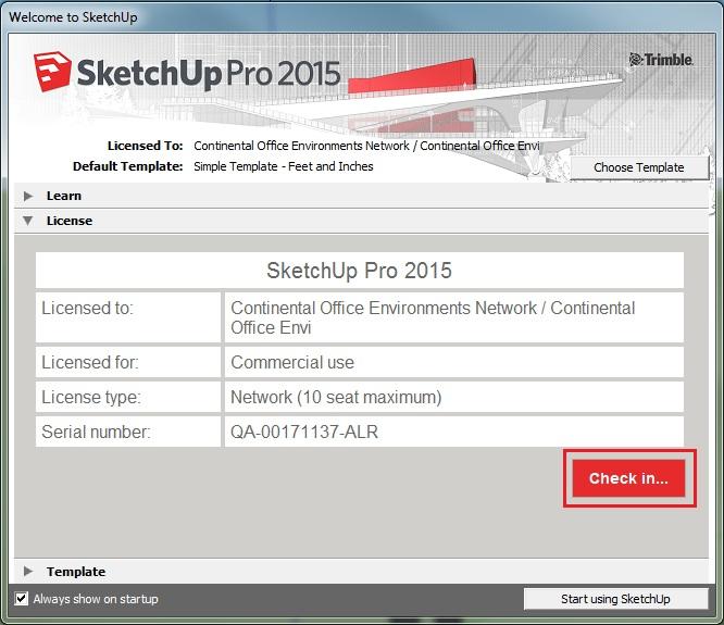 Check in giấy phép bản quyền SketchUp để trả lại License đã mượn