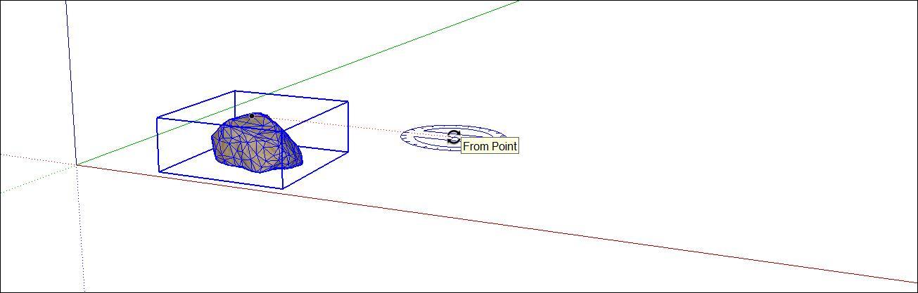Nhấp vào vị trí bạn muốn làm điểm trung tâm copy trong sketchup