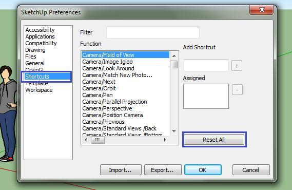 Reset All phím tắt SketchUp