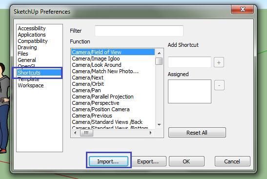Import file phím tắt SketchUp