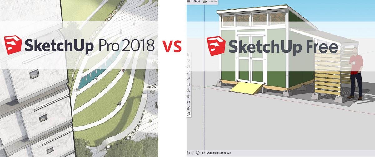 So sánh sketchup pro và sketchup free