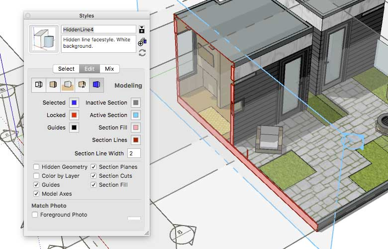 sử dụng section plane sketchup