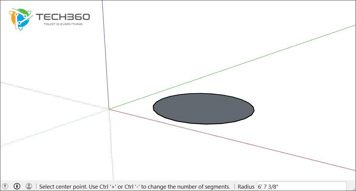 vẽ hình tròn trong sketchup